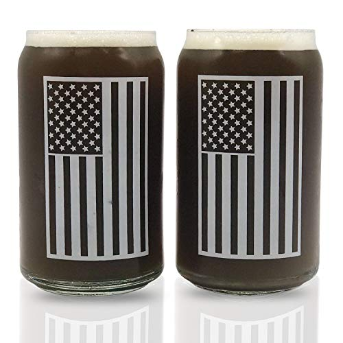 Beer Can Shaped Drinking Glass Set Of 2 | Perfect Christmas Gift | Libby 209 16oz Glasses USA American Flag Cool Fathers Day Gift for Dad, Veterans Day, July 4th