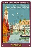 Pacifica Island Art Venecia, Italia - Canal Grande - Tren rápido Diario - Póster Viaje Ferrocarril de Géo Dorival c.1921 - Letrero de Madera 20x30cm