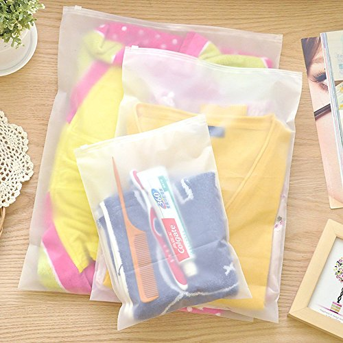 28x40 cm Matte Clear Reusable Grocery Bags for Clothes Clothing Accessories Mat Transparent Zipper Brush Wash Supplies Travel Necessary Storage Pouch 20 Pack Closure Luggage Take Out Containers