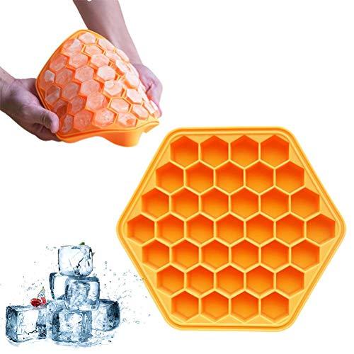 Tixiyu Bandeja de hielo de panal de 37 rejillas, apilable flexible y segura, duradera con cubierta bandeja de hielo de silicona de grado alimenticio para agua, cóctel y otras bebidas y más