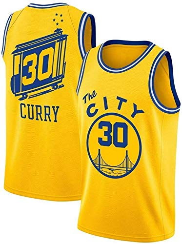llp Curry New City Edition Basketball Jersey, Golden State Warriors # 30 Men's Baloncesto Uniforme, Ropa de Entrenamiento de Baloncesto Unisex Sin Mangas Camiseta, Amarillo, XXL (Size : Medium)