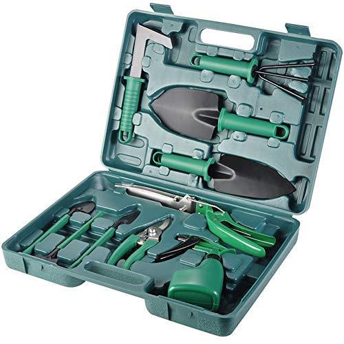 HS-Zak Miller Jardin Tool Set Mini 10 Pièces D'outils À Main Truelle Sécateur Râteau Pelle Cisaille À Gazon Vaporisateur avec Coffret De Rangement