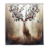CPYang Duschvorhang Fantasy Obstbaum Hirsch Vogel Wasserdicht Schimmelresistent Badvorhang Badezimmer Home Decor 168 x 182 cm mit 12 Haken