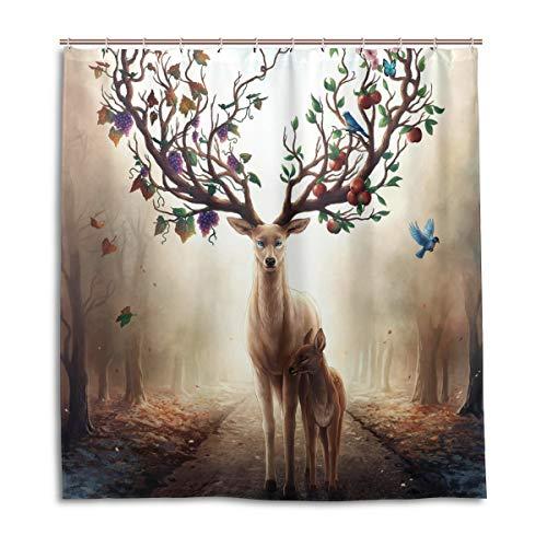 CPYang Duschvorhänge Fantasy Obstbaum Hirsch Vogel Wasserdicht Schimmelresistent Badvorhang Badezimmer Home Decor 168 x 182 cm mit 12 Haken