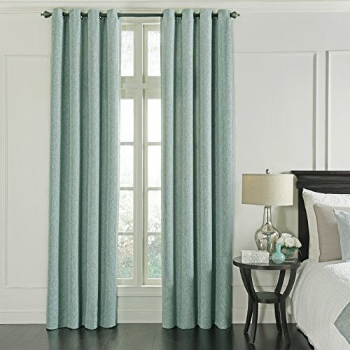 """Beautyrest Blackout Curtains for Bedroom - Arlette 52"""" x 95"""" Insulated Darkening Single Panel Grommet Top Window Treatment Living Room, Smokey Blue"""