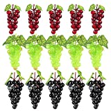 JUSTDOLIFE 15 Bunches Atificial High Simulation Grapes Fake Grapes Decorative Grapes in Black,red,Green for Wedding, Home Decoration, Kitchen, Office and Photography Props