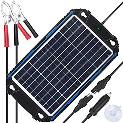 Upgraded Waterproof 12V Solar Battery Charger & Maintainer Pro - Built-in Intelligent MPPT Charge Controller - 10 Watts Solar Panel Trickle Charging Kit for Car, Marine, Motorcycle, RV, etc
