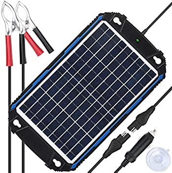 SUNER POWER Waterproof 12V Solar Battery Charger & Maintainer Pro - Built-in Intelligent MPPT Charge Controller - 10W Solar Panel Trickle Charging Kit for Car Marine Motorcycle RV etc