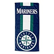 """MLB team name at the top; logo at bottom; laid out vertically; colors coordinated to team; striped background Soft; lightweight; great for pool or beach Measures 30""""W x 60""""L Machine wash cold separately using delicate cycle and mild detergent. Do not..."""