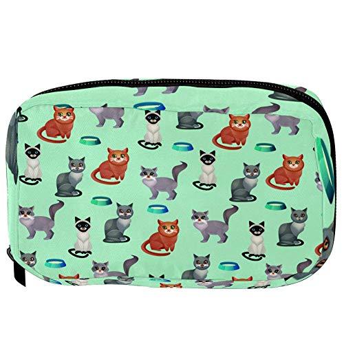 Bolsas de cosméticos TIZORAX Gatos con cuencos de alimentos Práctico artículo de tocador Bolsa de viaje Organizador Bolsa de maquillaje para mujeres Niñas