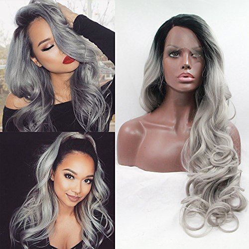 Fennell Fashion Ombre Silver Grey Body Wave Synthetic Lace Front Wig Glueless Long Natural Dark Root Gray Heat Resistant Hair Wigs For Women