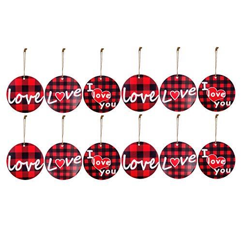 12 colgantes de madera para el día de San Valentín, para botella de vino tinto