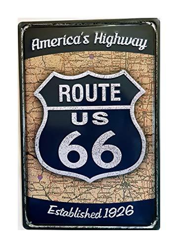 MR Placa de Metal Vintage America Highway Route 66, 30 x 20 cm