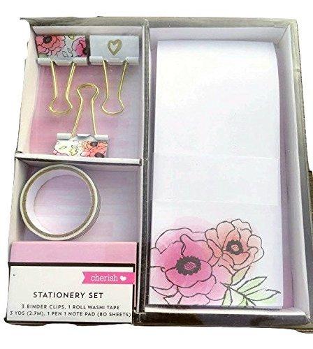 Cherish set cancelleria fiori 3raccoglitori clip, 1Washi tape, 1penna, 1blocco note