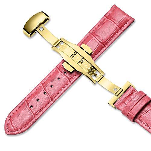『iStrap 時計ベルト 17mm 18mm 19mm 20mm 21mm 22mm 24mm6色 カーフレザー腕時計バンド 革ベルト ゴールデンDバックル尾錠付き』の1枚目の画像