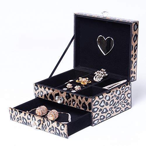 Jofave Mirrored Jewelry Box for Women,Personalized Glass Jewelry Organizer with Drawers,Watch and Earring Organizer etc(Leopard-Print Pattern … …