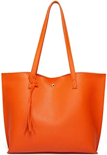 Women Beach Purse Orange Swirl Handbag Medium Tote Summer Teens Bright Shopping