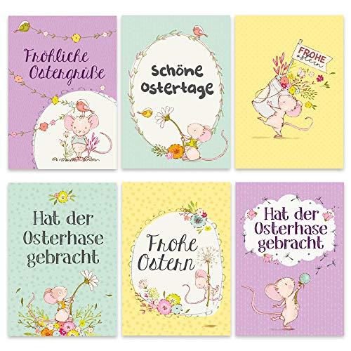 Papierdrachen Osterkarten Set Bären und Mäuse - 12 liebevoll gestaltete Postkarten zu Ostern - Grußkarten Set 6 - Ostern 2019