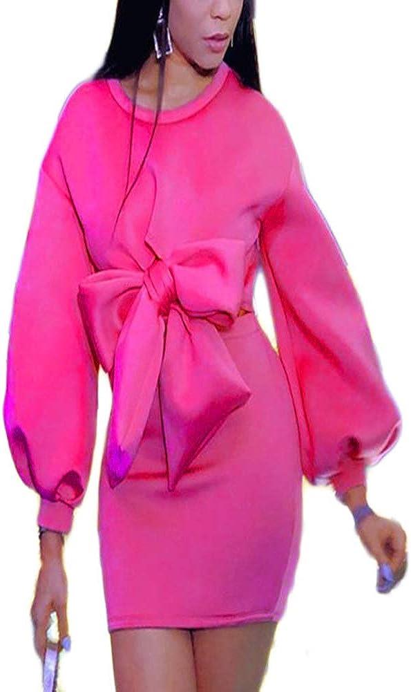 Skirt 2 Piece Outfits for Women - Puff Sleeve Bowknot Crop Top + Hight Waist Bodycon Short Skirt Club Mini Dress Outfits