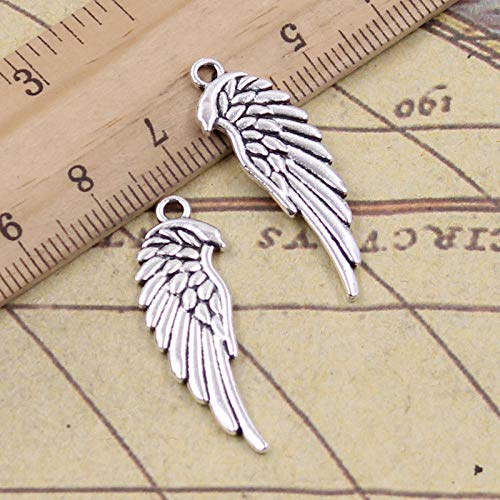 WANM 15Pcs Charms Double Sided Angel Wings 33X12Mm Tibetan Pendants Crafts Making Findings Handmade Antique Diy Jewelry