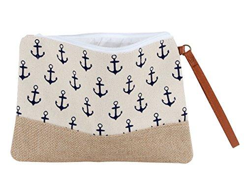 Alsino Kosmetiktasche Federmäppchen Kulturbeutel mit Reißverschluss Anker Maritim Handtasche, Variante wählen:KT-201 beige weiß Anker
