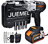 20V Cordless Impact Wrench with 1/2'' Chuck, JUEMEL 1/4' Hexagonal Chuck Electric Screwdriver Cordless Drill 3 in 1 Multifunctional Power Tool Kit. High Torque 2 Speed Impact Driver Set