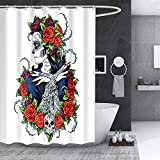 Rose Skull Shower Curtain Sugar Red Flowers Skeleton All Saints Day Blood Romance Classic Art Print, Waterproof Polyester with Hooks 60x72 inches Blue Green YLLLEA88