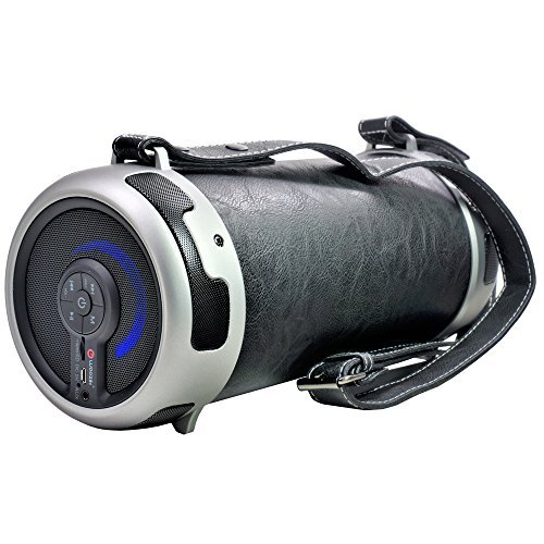 """Woozik Rockit Style / S29 Wireless Speaker, Outdoor/Indoor Bluetooth Boombox - with Micro SD Card Slot, Aux, Back-lit LED Light, FM Radio, Rechargeable, Leather Cover & Strap, and 4"""" Subwoofer (Black)"""