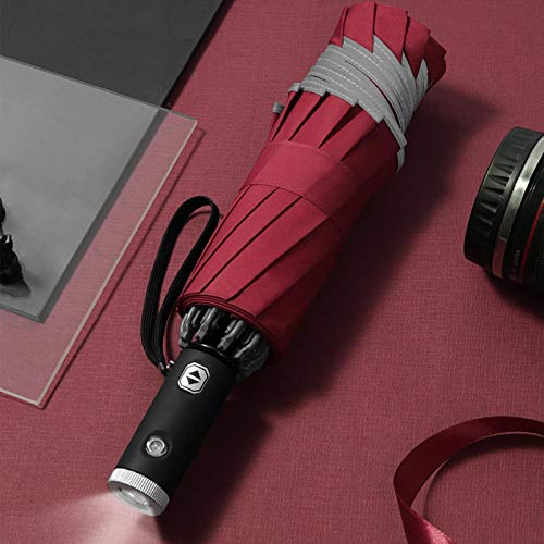 LED Inverted Umbrella with Reflective Stripe Automatic 3-fold Travel Umbrella with LED Flashlight Handle,One Click Open & Close-Safe Night Strong Anti-Wind Frame