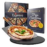 Esprevo Pizzastein Gasgrill, rund 33cm | Pizzastein Set inkl. Pizzaschieber & Videokurs | Pizza-Stein für Backofen mit Beschichtung aus glasiertem Cordierit