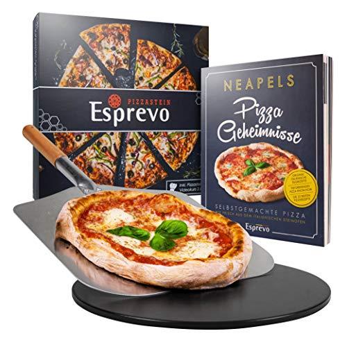 Esprevo Pizzastein Komplett Set inklusive Pizza Kochbuch | Pizzastein (rund 33cm) inkl. Pizzaschieber | Pizza-Stein für Backofen & Gasgrill mit Beschichtung aus glasiertem Cordierit