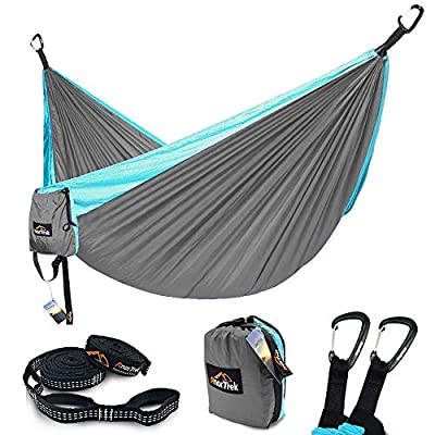 Camping Hammock, AnorTrek Lightweight Portable Single & Double Hammock With Tree Straps [10 FT/18+1 Loops], Parachute Hammock For Camping, Hiking, Garden, Yard (Light Grey&Blue, Double 78''W x 118''L)