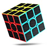 CFMOUR Rubiks Cube, Rubix Cube Speed Cube 3x3x3, Smooth Magic Carbon Fiber Sticker Rubix Speed Cubes, Enhanced Version, 5.7 Black