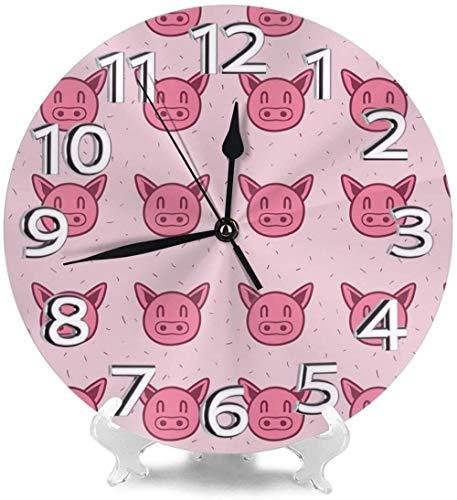 XXSCXXSC Reloj de Pared Cerdo Rosa Relojes de Escritorio Metal Mudo Decorativo para Escuela Iglesia Excelente precisión