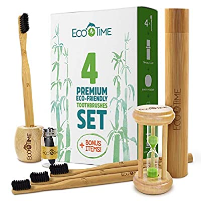Organic Bamboo Toothbrush Premium Set - 4 Pack Toothbrush Holder Travel Case Charcoal Dental Floss HOURGLASS BONUS - Biodegradable Handle - BPA Free Soft Charcoal Bristles - Eco-Friendly Adult Size