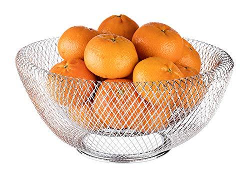 """APS Brot- & Obstkorb """"Wire"""" – Premium Brotkorb/Obstkorb in der Farbe Metall Chrom – Stapelbar und langlebig mit der Abmessung 31 x 14cm"""