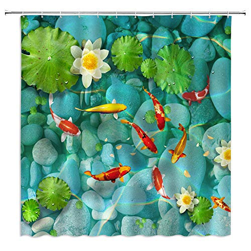 Koi Fish Shower Curtain,Japanese Lotus Pond Crap Fished Flower Leaves Cobblestone Asian Ornamental Landscape Print Fabric Bathroom Decor,Hooks Included,71 X 71 Inches,Green Red