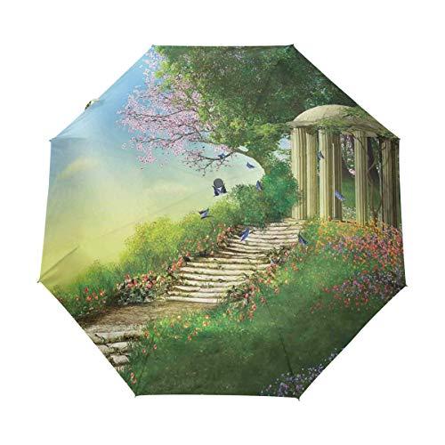 SUHETI Regenschirm Taschenschirm,Pavillon auf der Spitze des Hügels mit Steintreppen und Blumen Magisches mittelalterliches Land,Auf Zu Automatik,windsicher,stabil