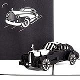 """Pop Up Karte'Oldtimer – Rolls Royce"""" in Silber & Schwarz - 3D Geburtstagskarte, Glückwunschkarte & Karte zum Führerschein mit 3D Auto Modell als Geschenk, Geschenkverpackung und Reisegutschein"""