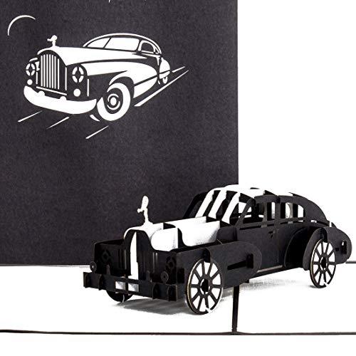 """Pop Up Karte \""""Oldtimer – Rolls Royce"""" in Silber & Schwarz - 3D Geburtstagskarte, Glückwunschkarte & Karte zum Führerschein mit 3D Auto Modell als Geschenk, Geschenkverpackung und Reisegutschein"""