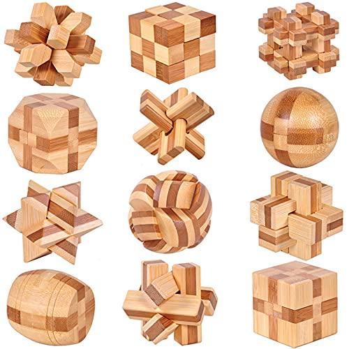 Holzsammlung 12 Piezas Cubo 3D Rompecabezas de Madera, Prueba de Inteligencia Kongming Classic Puzzle Bloqueo Educativo Juego de Prueba de Inteligencia Juguetes Navidad Regalo para Adultos Niños