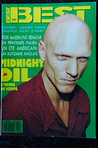 BEST 243 OCTOBRE 1988 COVER MIDNIGHT OIL IRON MAIDEN PAT BENATAR POSTERS TERENCE TRENT D\'ARBY JOHNNY CLEGG