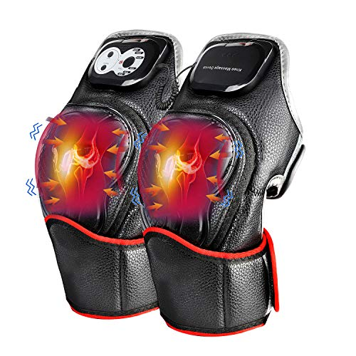 Electric Knee Massager, Heated Vibration Knee Massager for Pain Relief Arthritis Cramps Physiotherapy Recovery Knee Joints Massager Knee Brace Wrap (1 Pair) Ideal Gift for Mom Dad