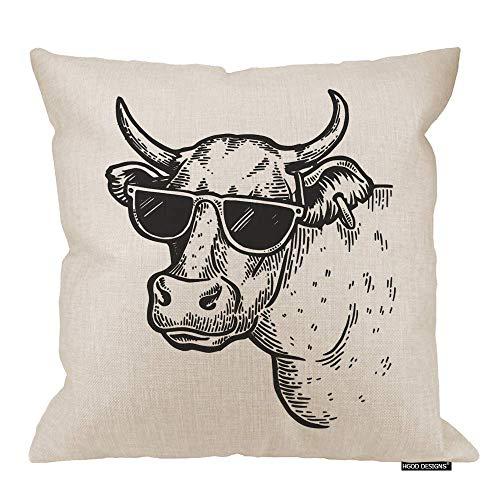 Funda de cojín de vaca, divertida, diseño de animales de vaca en gafas de sol de algodón y lino, funda de almohada decorativa cuadrada, 45,7 x 45,7 cm