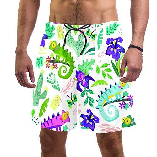 Lizard and Cactus Short de bain pour homme Slim Fit Doublure à séchage rapide - Multicolore - S