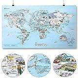 Ski- und Snowboard Weltkarte (Snowtrip Map) von Awesome Maps - Illustrierte Karte für Ski-und Snowboard-Freaks - Wiederbeschreibbar - 97,5 x 56 cm [International Edition]