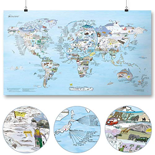 Snowtrip Map by Awesome Maps - Geïllustreerde wereldkaart voor ski- en snowboardfreaks - Herschrijfbaar - 97,5 x 56 cm