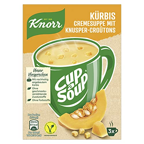 Knorr Cup a Soup Fertigsuppe Kürbis Cremesuppe mit Knusper-Croûtons für die schnelle Zubereitung 12 x 3 Portionen, 576 g