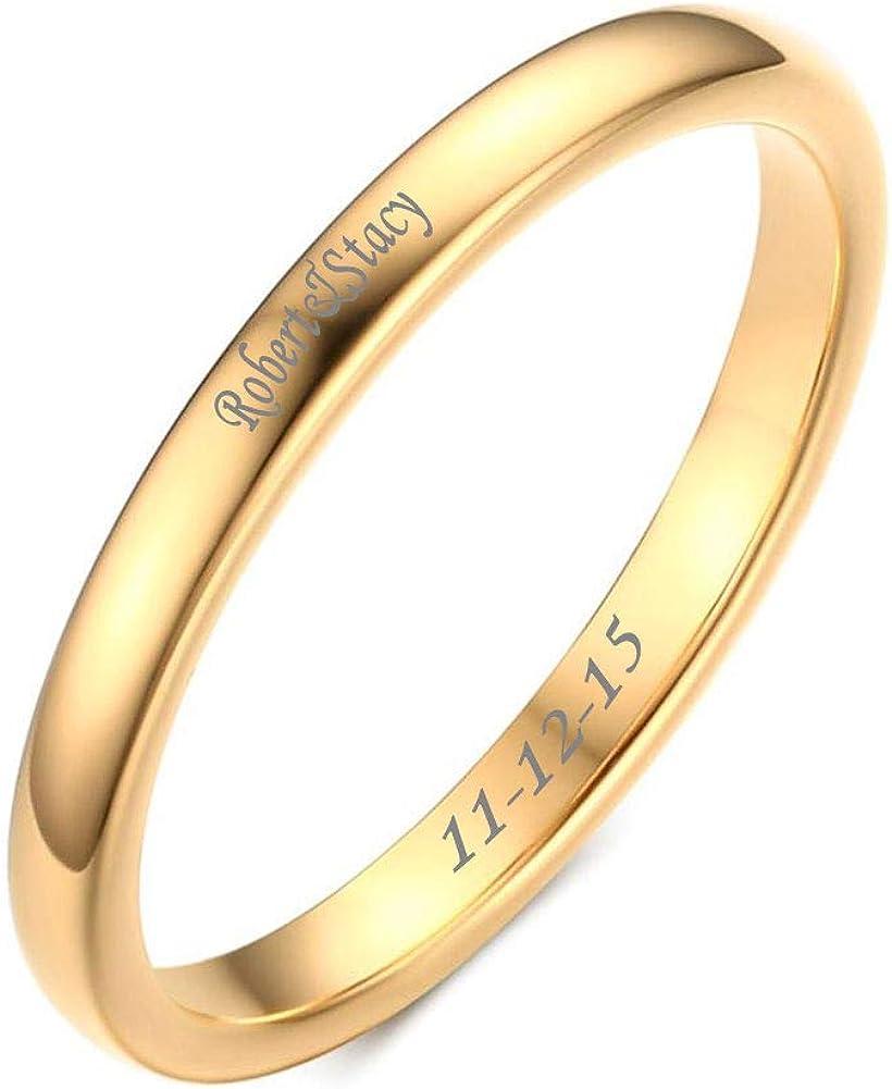 VNOX Free Custom Engraving-2mm Women's Tungsten Carbide Plain Thin Band Wedding Ring,3 Color,Size 6-11