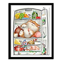 冷蔵庫の5DDIYダイヤモンド刺繡猫ダイヤモンド絵画漫画クロスステッチフルスクエアラインストーン家の装飾スクエア40x50cm